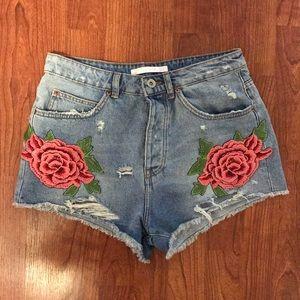 NWOT Zara high waisted denim shorts